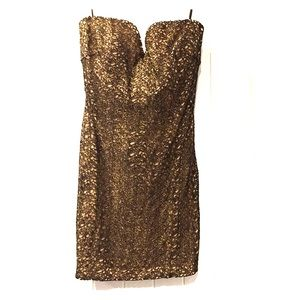 Bebe strapless black and gold dress with lining